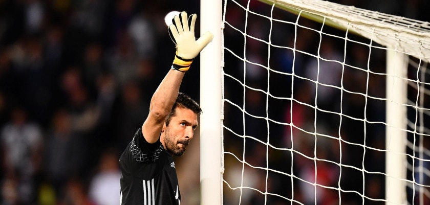 Juventus' goalkeeper from Italy Gianluigi Buffon reacts during the UEFA Champions League semi-final first leg football match Monaco vs Juventus at the Stade Louis II stadium in Monaco on May 3, 2017.  / AFP PHOTO / FRANCK FIFE        (Photo credit should read FRANCK FIFE/AFP/Getty Images)