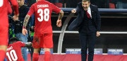 Spartak Moscow's coach from Italy Massimo Carrera reacts after Spartak Moscow's forward from Netherlands Quincy Promes scored the team's fifth goal during the UEFA Champions League Group E football match between FC Spartak Moscow and Sevilla FC at the Otkrytie Arena stadium in Moscow on October 17, 2017. / AFP PHOTO / Kirill KUDRYAVTSEV        (Photo credit should read KIRILL KUDRYAVTSEV/AFP/Getty Images)