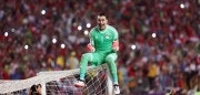 (171009) -- ALEXANDRIA, Oct. 9, 2017 (Xinhua) -- Essam El Hadary of Egypt celebrates after winning the 2018 FIFA World Cup qualification match between Egypt and Congo at the Borg El-Arab Stadium in Alexandria, Egypt, Oct. 8, 2017. Egypt won 2-1 and qualified to the World Cup finals. (Xinhua/Ahmed Gomaa)