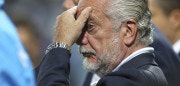 REGGIO NELL'EMILIA, ITALY - AUGUST 23:  SSC Napoli president Aurelio De Laurentiis looks on before the Serie A match between US Sassuolo Calcio and SSC Napoli at Mapei Stadium - Citt? del Tricolore on August 23, 2015 in Reggio nell'Emilia, Italy.  (Photo by Marco Luzzani/Getty Images)