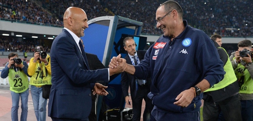Foto LaPresse - Gerardo Cafaro Stadio San Paolo, sabato 21 ottobre 2017, Napoli (Italia) Sport Calcio Campionato italiano di calcio Serie A TIM 2017/2018 SSC Napoli vs FC Internazionale Milano Nella foto: Sarri, Spalletti  Photo LaPresse - Gerardo Cafaro San Paolo stadium, saturday 21st october 2017, Naples (Italy) Sport Soccer TIM Serie A football championship, 2017/2018 Season SSC Napoli vs FC Internazionale Milano In the picture: Sarri, Spalletti