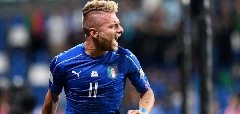 Italy's forward Ciro Immobile celebrates after scoring a goal during the FIFA World Cup 2018 qualification football match between Italy and Israel in Reggio Emilia on September 5, 2017. / AFP PHOTO / Vincenzo PINTO        (Photo credit should read VINCENZO PINTO/AFP/Getty Images)