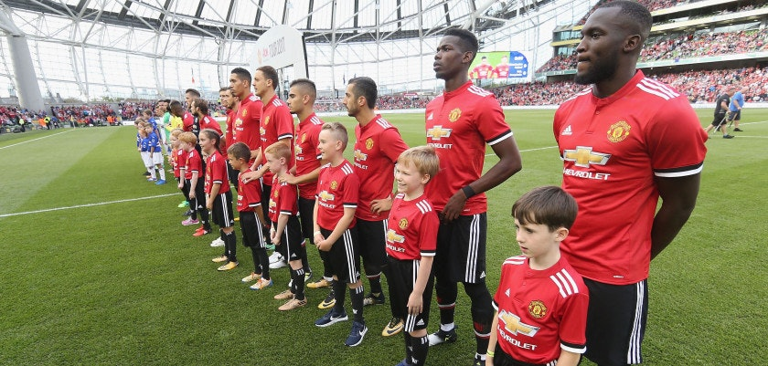 DUBLIN, IRELAND - AUGUST 02:  Paul Pogba and Romelu Lukaku of Manchester United line up with the United team ahead of the International Champions Cup pre-season friendly match between Manchester United and Sampdoria at the Aviva Stadium on August 2, 2017 in Dublin, Ireland.  (Photo by John Peters/Man Utd via Getty Images)