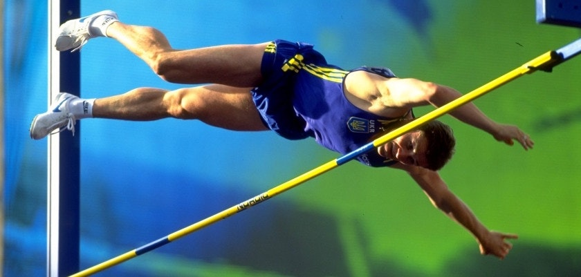 9 Aug 1995:  Sergey Bubka of the Ukraine clears the bar in the pole vault qualifying competition during the World Championships at the Ullevi Stadium in Gothenburg, Sweden.  Mandatory Credit: Gary M Prior/Allsport