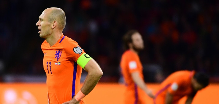 Netherlands' forward Arjen Robben reacts during their FIFA World Cup 2018 football, Group A, qualification match between the Netherlands and Sweden at the Amsterdam Arena in Amsterdam on October 10, 2017. / AFP PHOTO / EMMANUEL DUNAND        (Photo credit should read EMMANUEL DUNAND/AFP/Getty Images)