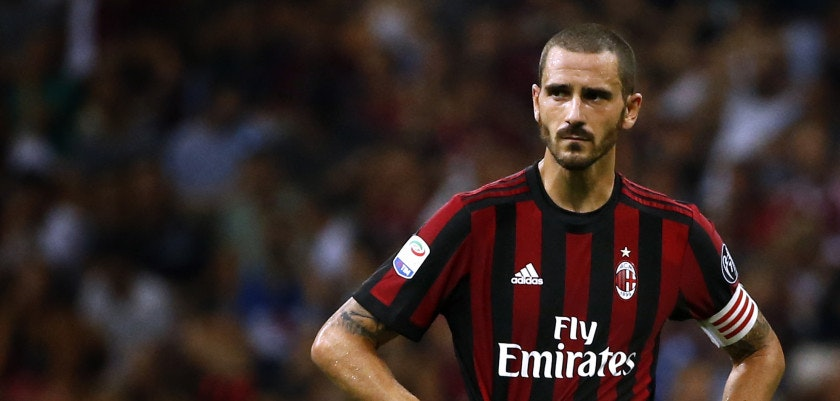 AC Milan's defender Leonardo Bonucci looks on during the Italian Serie A football match AC Milan Vs Cagliari on August 27, 2017 at the 'Giuseppe Meazza' Stadium in Milan.  / AFP PHOTO / Marco BERTORELLO        (Photo credit should read MARCO BERTORELLO/AFP/Getty Images)