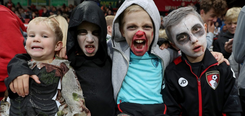 BOURNEMOUTH, ENGLAND - OCTOBER 28: AFC Bournemouth fans get into the halloween mood prior to the Premier League match between AFC Bournemouth and Chelsea at Vitality Stadium on October 28, 2017 in Bournemouth, England.  (Photo by Christopher Lee/Getty Images)