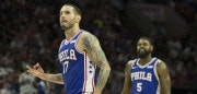 PHILADELPHIA, PA - OCTOBER 20: JJ Redick #17 and Amir Johnson #5 of the Philadelphia 76ers react against the Boston Celtics at the Wells Fargo Center on October 20, 2017 in Philadelphia, Pennsylvania. NOTE TO USER: User expressly acknowledges and agrees that, by downloading and or using this photograph, User is consenting to the terms and conditions of the Getty Images License Agreement. (Photo by Mitchell Leff/Getty Images)