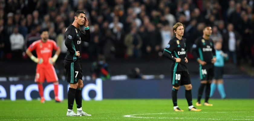 LONDON, ENGLAND - NOVEMBER 01:  Cristiano Ronaldo of Real Madrid looks dejected following Tottenham Hotspur's third goal during the UEFA Champions League group H match between Tottenham Hotspur and Real Madrid at Wembley Stadium on November 1, 2017 in London, United Kingdom.  (Photo by Laurence Griffiths/Getty Images)