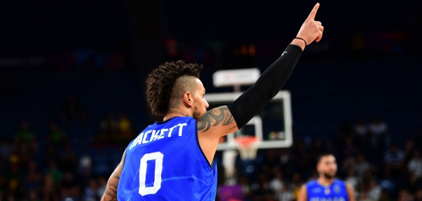Italy's guard Daniel Hackett celebrates during the FIBA Eurobasket 2017 men's round 16 basketball match between Finland and Italy at the Sinan Erdem Sport Arena in Istanbul on September 9, 2017.  / AFP PHOTO / OZAN KOSE        (Photo credit should read OZAN KOSE/AFP/Getty Images)