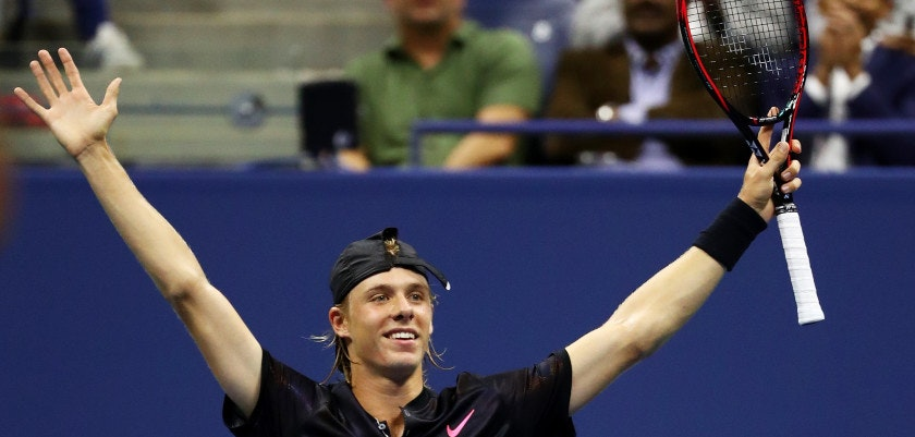 NEW YORK, NY - AUGUST 30:  Denis Shapovalov of Canada celebrates defeating Jo-Wilfried Tsonga of France during their second round Men's Second match on Day Three of the 2017 US Open at the USTA Billie Jean King National Tennis Center on August 30, 2017 in the Flushing neighborhood of the Queens borough of New York City.  (Photo by Al Bello/Getty Images)