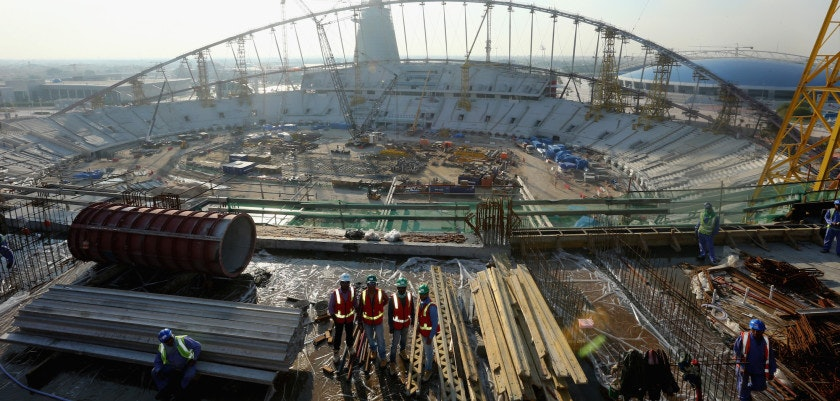DOHA, QATAR - DECEMBER 30:  Construction work continues on Khalifa International Stadium ahead of the 2022 FIFA World Cup Qatar on December 30, 2015 in Doha, Qatar.  (Photo by Warren Little/Getty Images)