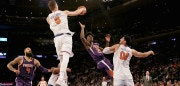 NEW YORK, NY - NOVEMBER 03:  Kristaps Porzingis #6 of the New York Knicks blocks a shot by Josh Jackson #20 of the Phoenix Suns after Jackson stole the ball from Porzingis in the previous play as teammate Enes Kanter #00 of the New York Knicks defends and Tyson Chandler #4 of the Phoenix Suns looks on at Madison Square Garden on November 3, 2017 in New York City. NOTE TO USER: User expressly acknowledges and agrees that, by downloading and or using this Photograph, user is consenting to the terms and conditions of the Getty Images License Agreement  (Photo by Elsa/Getty Images)