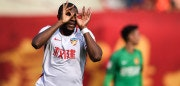 Anthony Modeste of Tianjin Quanjian celebrates a goal during their Chinese Super League (CSL) football match against Guangzhou Evergrande in Guangzhou, in China's southern Guangdong province on November 4, 2017. / AFP PHOTO / STR / China OUT        (Photo credit should read STR/AFP/Getty Images)