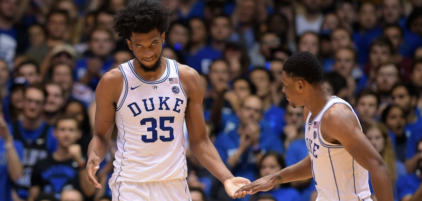 DURHAM, NC - NOVEMBER 10: Marvin Bagley III #35 and Trevon Duval #1 of the Duke Blue Devils react during their game against the Elon Phoenix at Cameron Indoor Stadium on November 10, 2017 in Durham, North Carolina. Duke won 97-68. (Photo by Lance King/Getty Images)