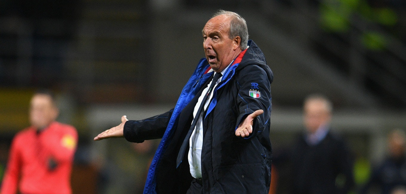 MILAN, ITALY - NOVEMBER 13:  Head coach Italy Gian Piero Ventura reacts during the FIFA 2018 World Cup Qualifier Play-Off: Second Leg between Italy and Sweden at San Siro Stadium on November 13, 2017 in Milan, Italy.  (Photo by Claudio Villa/Getty Images)
