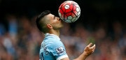 MANCHESTER, ENGLAND - OCTOBER 03:  Sergio Aguero of Manchester City kisses the ball to celebrate a goal during the Barclays Premier League match between Manchester City and Newcastle United at Etihad Stadium on October 3, 2015 in Manchester, United Kingdom.  (Photo by Dean Mouhtaropoulos/Getty Images)