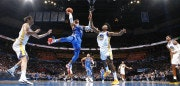 OKLAHOMA CITY, OK - NOVEMBER 22: Russell Westbrook #0 of the Oklahoma City Thunder goes to the basket against the Golden State Warriors on November 22, 2017 at Chesapeake Energy Arena in Oklahoma City, Oklahoma. NOTE TO USER: User expressly acknowledges and agrees that, by downloading and or using this photograph, User is consenting to the terms and conditions of the Getty Images License Agreement. Mandatory Copyright Notice: Copyright 2017 NBAE (Photo by Layne Murdoch/NBAE via Getty Images)