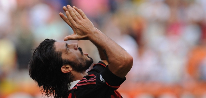 MILAN, ITALY - SEPTEMBER 20:  Gennaro Gattuso of AC Milan reacts during the Serie A match between AC Milan and Bologna FC at Stadio Giuseppe Meazza on September 20, 2009 in Milan, Italy.  (Photo by Valerio Pennicino/Getty Images)