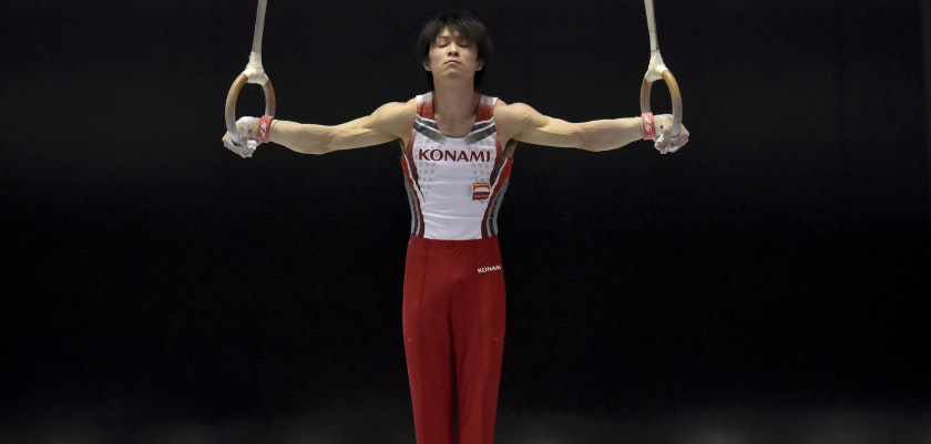 TOKYO, JAPAN - MAY 17:  Kohei Uchimura competes on the rings during the Artistic Gymnastics NHK Trophy at Yoyogi National Gymnasium on May 17, 2015 in Tokyo, Japan.  (Photo by Koki Nagahama/Getty Images)