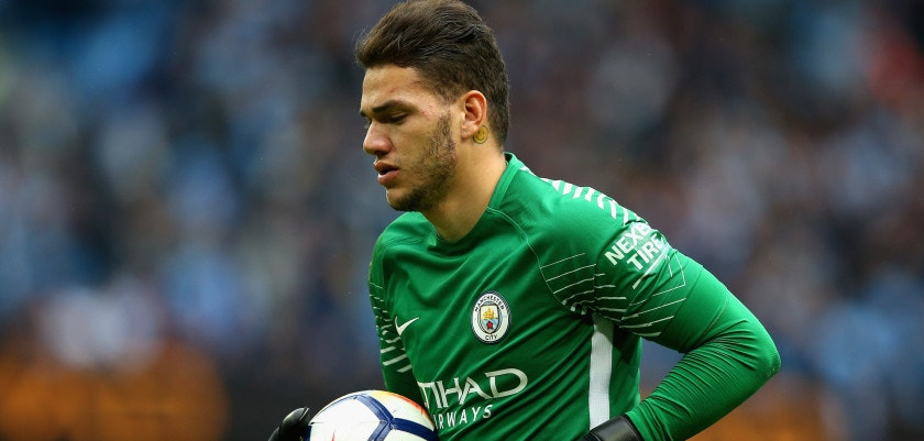MANCHESTER, ENGLAND - SEPTEMBER 23: Ederson of Manchester City looks on during the Premier League match between Manchester City and Crystal Palace at Etihad Stadium on September 23, 2017 in Manchester, England.  (Photo by Alex Livesey/Getty Images)