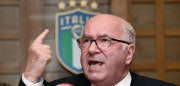 Italian Football Federation (FIGC) President Carlo Tavecchio speaks during a press conference held after his official resignation during a crisis meeting of the Italian Football Federation (FIGC) in Rome on November 20, 2017. Tavecchio has resigned after Italy's World Cup qualifying fiasco saw the four-time champions miss the finals for the first time in 60 years, an FIGC official confirmed on November 20, 2017. / AFP PHOTO / Alberto PIZZOLI        (Photo credit should read ALBERTO PIZZOLI/AFP/Getty Images)