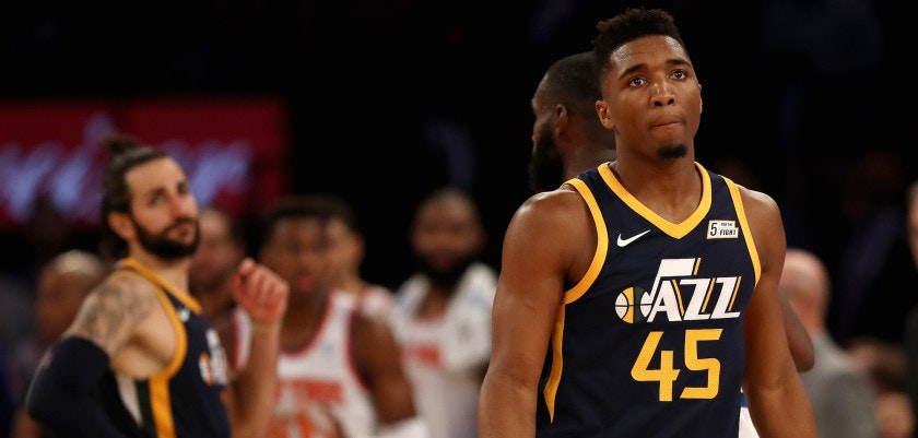 NEW YORK, NY - NOVEMBER 15:  Donovan Mitchell #45 of the Utah Jazz reacts in the final minutes of the game against the New York Knicks at Madison Square Garden on November 15, 2017 in New York City. NOTE TO USER: User expressly acknowledges and agrees that, by downloading and or using this Photograph, user is consenting to the terms and conditions of the Getty Images License Agreement  (Photo by Elsa/Getty Images)