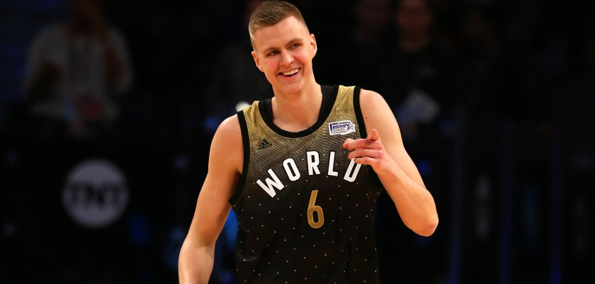 TORONTO, ON - FEBRUARY 12:  Kristaps Porzingis #6 of the New York Knicks and World team reacts after a play in the first half against the United States team during the BBVA Compass Rising Stars Challenge 2016 at Air Canada Centre on February 12, 2016 in Toronto, Canada. NOTE TO USER: User expressly acknowledges and agrees that, by downloading and/or using this Photograph, user is consenting to the terms and conditions of the Getty Images License Agreement.  (Photo by Elsa/Getty Images)