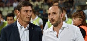 MODENA, ITALY - AUGUST 30: Vice President of FC Internazionale Milano Javier Zanetti (L) and Sporting Director of FC Internazionale Milano Piero Ausilio before the Serie A match between Carpi FC and FC Internazionale Milano at Alberto Braglia Stadium on August 30, 2015 in Modena, Italy.  (Photo by Giuseppe Bellini/Getty Images)