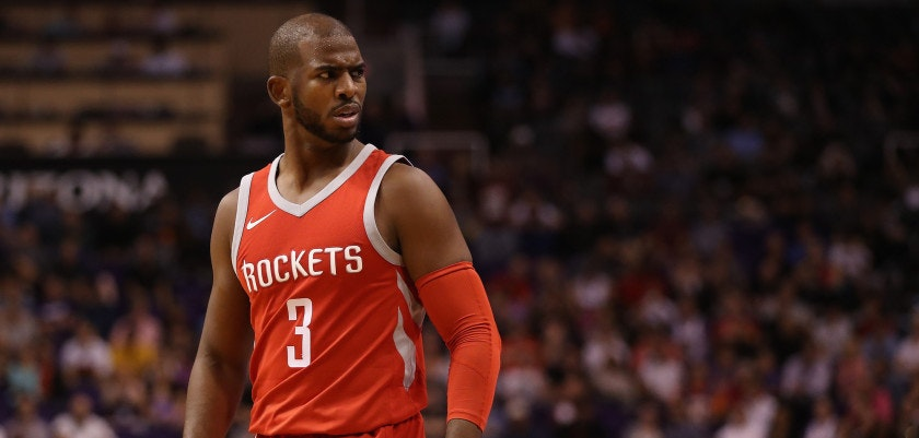 PHOENIX, AZ - NOVEMBER 16:  Chris Paul #3 of the Houston Rockets during the second half of the NBA game against the Phoenix Suns at Talking Stick Resort Arena on November 16, 2017 in Phoenix, Arizona. NOTE TO USER: User expressly acknowledges and agrees that, by downloading and or using this photograph, User is consenting to the terms and conditions of the Getty Images License Agreement.  (Photo by Christian Petersen/Getty Images)