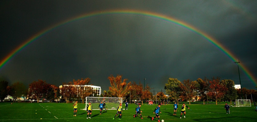 MELBOURNE, AUSTRALIA - MAY 12:  A general view as a double rainbow forms overhead during a Melbourne Victory A-League training session at Gosch's Paddock on May 12, 2015 in Melbourne, Australia. Melbourne Victory will play Sydney FC in the A-League grand final in Melbourne on Sunday.  (Photo by Scott Barbour/Getty Images)