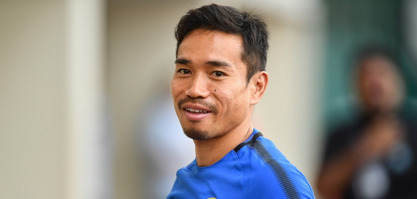 SINGAPORE - JULY 26: Yuto Nagatomo #55 of FC Inter Milan looks during a training session of International Champions Cup training session at Bishan Stadium on July 26, 2017 in Singapore.  (Photo by Thananuwat Srirasant/Getty Images  for ICC)