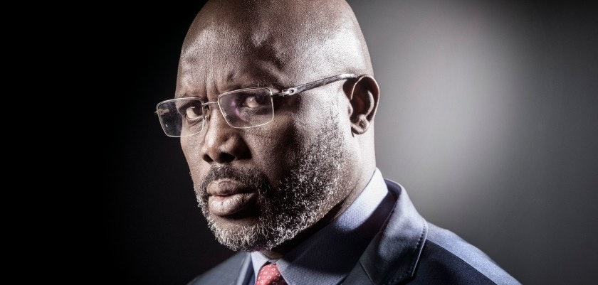 Former football player and candidate in Liberia's presidential elections, George Weah poses during a photo session on September 25, 2017 in Paris.    / AFP PHOTO / JOEL SAGET        (Photo credit should read JOEL SAGET/AFP/Getty Images)