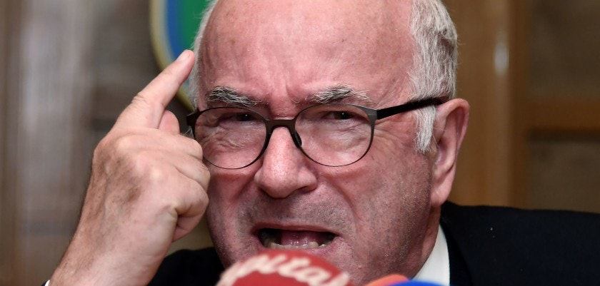 Italian Football Federation (FIGC) President Carlo Tavecchio gestures during a press conference held after his official resignation during a crisis meeting of the Italian Football Federation (FIGC) in Rome on November 20 2017. Tavecchio has resigned after Italy's World Cup qualifying fiasco saw the four-time champions miss the finals for the first time in 60 years, an FIGC official confirmed on Monday. / AFP PHOTO / Alberto PIZZOLI        (Photo credit should read ALBERTO PIZZOLI/AFP/Getty Images)