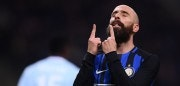 Inter Milan's midfielder Iglesias Borja Valero from Spain  reacts during the Italian Serie A football match Inter Milan Vs Lazio on December 30, 2017 at the 'San Siro Stadium' in Milan. / AFP PHOTO / MARCO BERTORELLO        (Photo credit should read MARCO BERTORELLO/AFP/Getty Images)