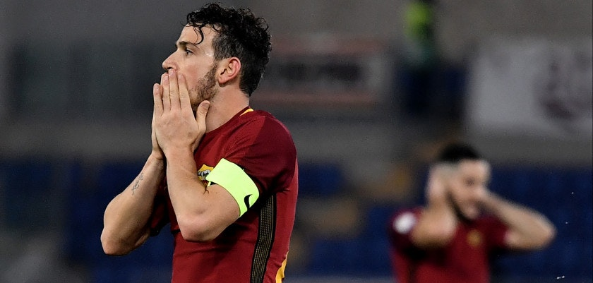 Roma's midfielder Alessandro Fiorenzi reacts during the Serie A football match between Roma and Atalanta at The Olympic stadium in Rome on January 6, 2018.  / AFP PHOTO / TIZIANA FABI        (Photo credit should read TIZIANA FABI/AFP/Getty Images)