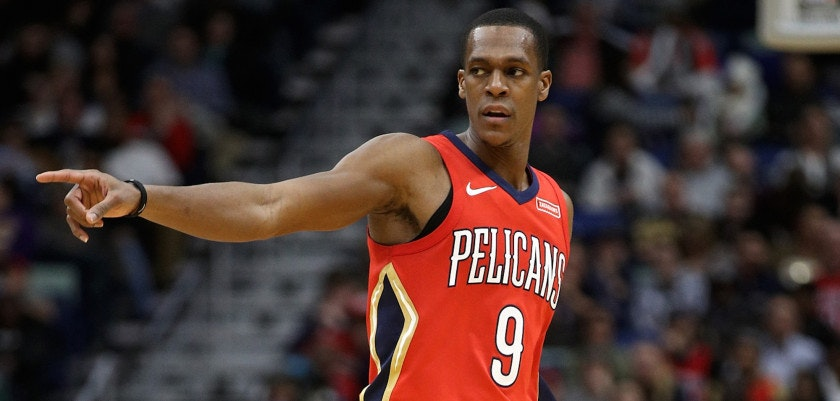 NEW ORLEANS, LA - DECEMBER 27:  Rajon Rondo #9 of the New Orleans Pelicans in action against the Brooklyn Nets at the Smoothie King Center on December 27, 2017 in New Orleans, Louisiana.  (Photo by Chris Graythen/Getty Images)