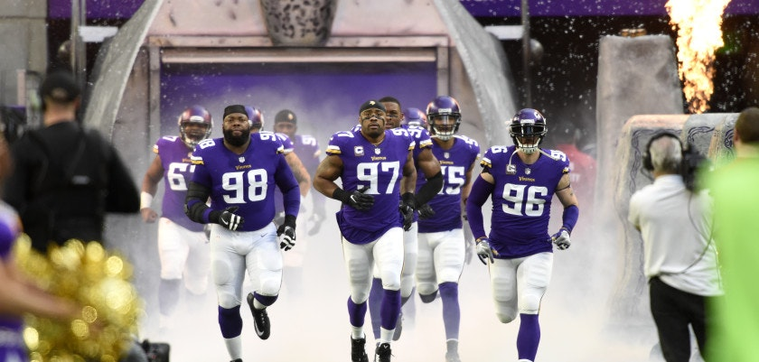 MINNEAPOLIS, MN - DECEMBER 31: Linval Joseph #98, Everson Griffen #97, and Brian Robison #96 of the Minnesota Vikings lead the team on to the field before the game against the Chicago Bears on December 31, 2017 at U.S. Bank Stadium in Minneapolis, Minnesota. (Photo by Hannah Foslien/Getty Images)