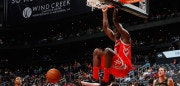 ATLANTA, GA - NOVEMBER 03:  Clint Capela #15 of the Houston Rockets dunks against the Atlanta Hawks at Philips Arena on November 3, 2017 in Atlanta, Georgia.  NOTE TO USER: User expressly acknowledges and agrees that, by downloading and or using this photograph, User is consenting to the terms and conditions of the Getty Images License Agreement.  (Photo by Kevin C. Cox/Getty Images)