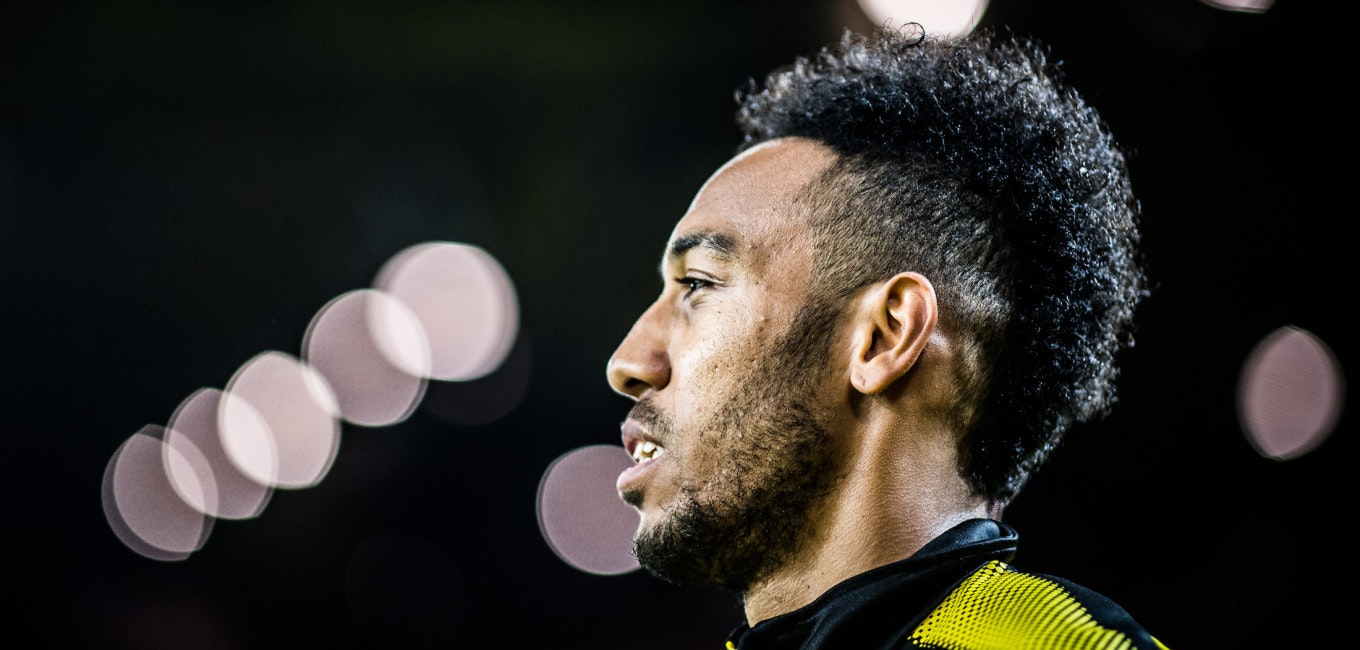 DORTMUND, GERMANY - NOVEMBER 04: (EDITORS NOTE: Image has been digitally enhanced.)  Pierre-Emerick Aubameyang of Dortmund looks up prior to the Bundesliga match between Borussia Dortmund and FC Bayern Muenchen at Signal Iduna Park on November 4, 2017 in Dortmund, Germany. (Photo by Lukas Schulze/Bundesliga/DFL via Getty Images )