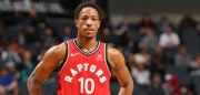 CHARLOTTE, NC - DECEMBER 20:  DeMar DeRozan #10 of the Toronto Raptors looks on during the game against the Charlotte Hornets on December 20, 2017 at Spectrum Center in Charlotte, North Carolina. NOTE TO USER: User expressly acknowledges and agrees that, by downloading and or using this photograph, User is consenting to the terms and conditions of the Getty Images License Agreement.  Mandatory Copyright Notice:  Copyright 2017 NBAE (Photo by Kent Smith/NBAE via Getty Images)