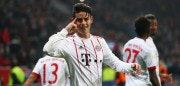 LEVERKUSEN, GERMANY - JANUARY 12:  James Rodriguez of Bayern Muenchen celebrates as he scores their third goal from a free kick during the Bundesliga match between Bayer 04 Leverkusen and FC Bayern Muenchen at BayArena on January 12, 2018 in Leverkusen, Germany.  (Photo by Lars Baron/Bongarts/Getty Images)