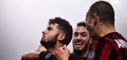 AC Milan's forward Patrick Cutrone (L) from Italy celebrates with teammates after scoring during the Italian Serie A football match AC Milan Vs Lazio on January 28, 2018 at the 'Giuseppe Meazza' Stadium in Milan. / AFP PHOTO / MARCO BERTORELLO        (Photo credit should read MARCO BERTORELLO/AFP/Getty Images)