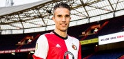 Robin van Persie, 34-years-old, new player of Dutch Eredivisie team Feyenoord Rotterdam, is presented to the press after signing a 18 month contract in Rotterdam on  January 22, 2018. / AFP PHOTO / ANP / Remko DE WAAL / Netherlands OUT        (Photo credit should read REMKO DE WAAL/AFP/Getty Images)