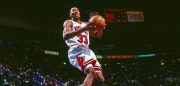CLEVELAND - FEBRUARY 9: Scottie Pippen #33 of the Chicago Bulls goes for a dunk during the game during the 1997 NBA All-Star Game played on February 9, 1997 at Gund Arena in Cleveland, Ohio.. NOTE TO USER: User expressly acknowledges that, by downloading and or using this photograph, User is consenting to the terms and conditions of the Getty Images License agreement. Mandatory Copyright Notice: Copyright 1997 NBAE (Photo by Andy Hayt/NBAE via Getty Images)