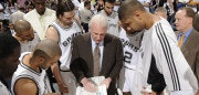 SAN ANTONIO - MAY 27: Gregg Popovich, Head Coach of the San Antonio Spurs, talks strategy to his team before the game starts against the Los Angeles Lakers in Game Four of the Western Conference Finals during the 2008 NBA Playoffs at the AT&T Center on May 27, 2008 in San Antonio, Texas. NOTE TO USER: User expressly acknowledges and agrees that, by downloading and/or using this photograph, User is consenting to the terms and conditions of the Getty Images License Agreement. Mandatory Copyright Notice: Copyright 2008 NBAE (Photo by D. Clarke Evans/NBAE via Getty Images)