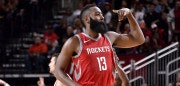 HOUSTON, TX - NOVEMBER 9:  James Harden #13 of the Houston Rockets celebrates during the game against the Cleveland Cavaliers on NOVEMBER 9, 2017 at the Toyota Center in Houston, Texas. NOTE TO USER: User expressly acknowledges and agrees that, by downloading and or using this photograph, User is consenting to the terms and conditions of the Getty Images License Agreement. Mandatory Copyright Notice: Copyright 2017 NBAE (Photo by Bill Baptist/NBAE via Getty Images)
