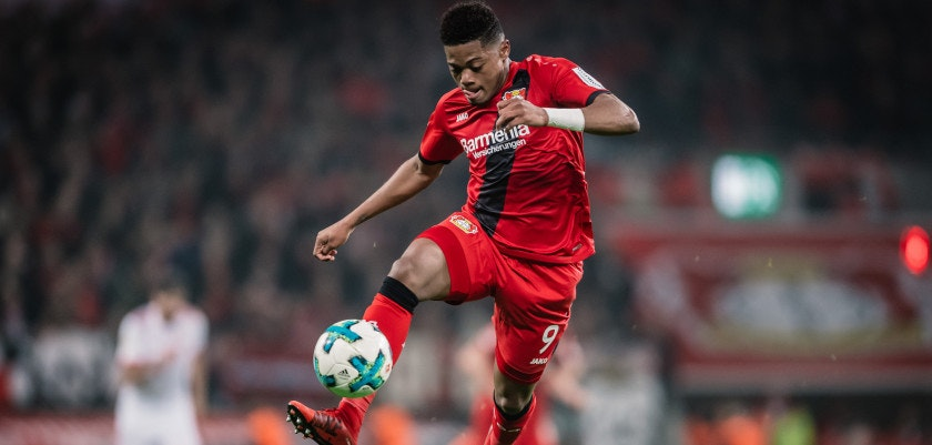 LEVERKUSEN, GERMANY - JANUARY 12: Leon Bailey of Leverkusen controls the ball during the Bundesliga match between Bayer 04 Leverkusen and FC Bayern Muenchen at BayArena on January 12, 2018 in Leverkusen, Germany. (Photo by Alexander Scheuber/Bundesliga/DFL via Getty Images)
