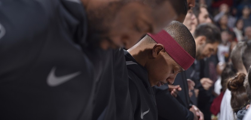 CLEVELAND, OH - JANUARY 2:  Isaiah Thomas #3 of the Cleveland Cavaliers with his teammates stand for the National Anthem before the game against the Portland Trail Blazers on January 2, 2018 at Quicken Loans Arena in Cleveland, Ohio. NOTE TO USER: User expressly acknowledges and agrees that, by downloading and/or using this Photograph, user is consenting to the terms and conditions of the Getty Images License Agreement. Mandatory Copyright Notice: Copyright 2018 NBAE  (Photo by David Liam Kyle/NBAE via Getty Images)