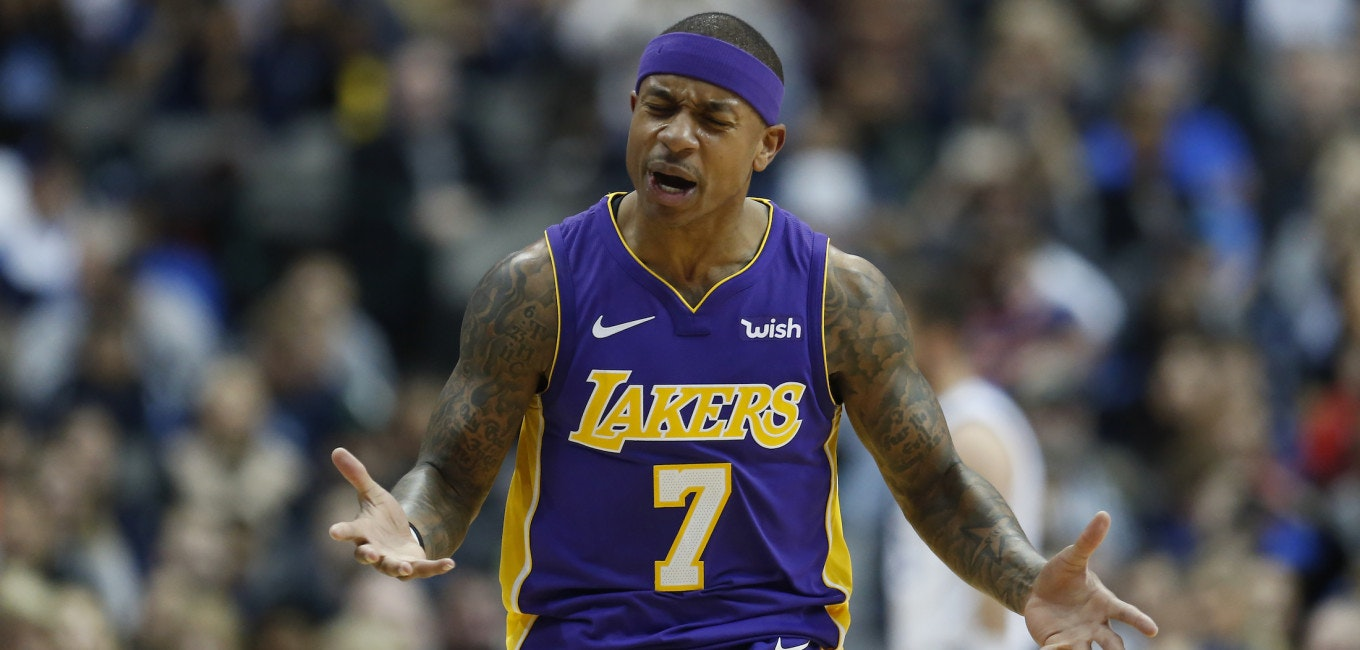 DALLAS, TX - FEBRUARY 10: Isaiah Thomas #7 of the Los Angeles Lakers reacts as the Lakers play the Dallas Mavericks in the second half at American Airlines Center on February 10, 2018 in Dallas, Texas. The Mavericks won 130-123. (Photo by Ron Jenkins/Getty Images)